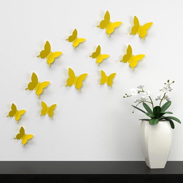 Motyle, liście i kamienie w aranżacji wnętrz